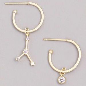 Jewelry - CANCER Zodiac Star Gold Huggie Hoop Earrings